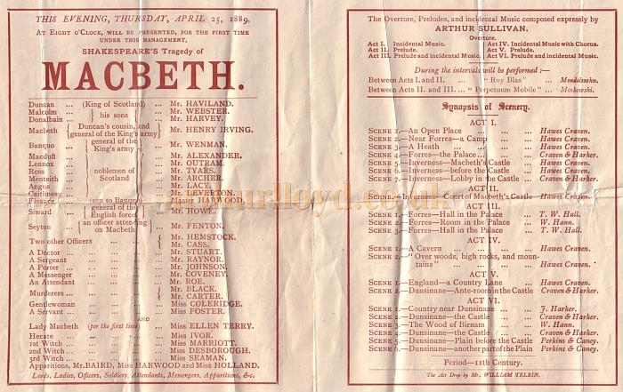 A programme for the 96th performance of 'Macbeth' with Henry Irving and Ellen Terry, and with Bram Stoker as acting manager, at the Lyceum Theatre on April the 25th, 1889 - Kindly donated by Jane Hunt.