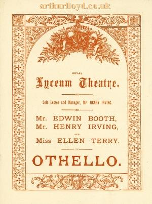 A Programme for Edwin Booth, Henry Irving, and Ellen Terry in 'Othello' at the Lyceum Theatre in May 1881 - Courtesy Raymond Buckland.