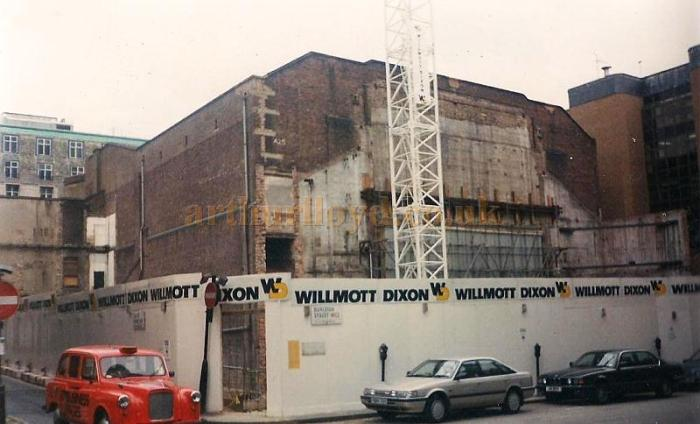 The Lyceum Theatre during refurbishment and reconstruction in 1996, the photo shows the stage house and dressing room block completely demolished before reconstruction - Courtesy Jason Mullen