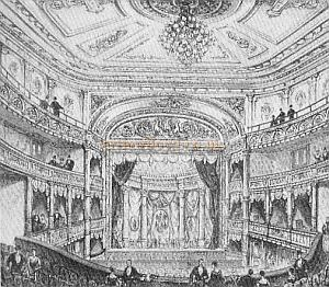 The auditorium and stage of the Lyric Theatre in 1889 - From 'London Theatres and Music Halls' by Dianna Howard - The original is at the Brtish Museum.