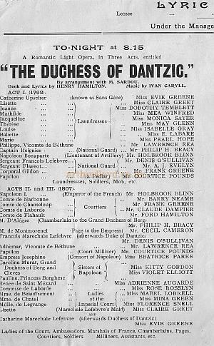 Programme for 'The Duchess Of Dantzic,' a romantic opera by Henry Hamilton, produced at the Lyric Theatre during the end of the Forbes-Robertson season in October 1903, a musical version of the story of Napoleon, which ran for 236 performance.