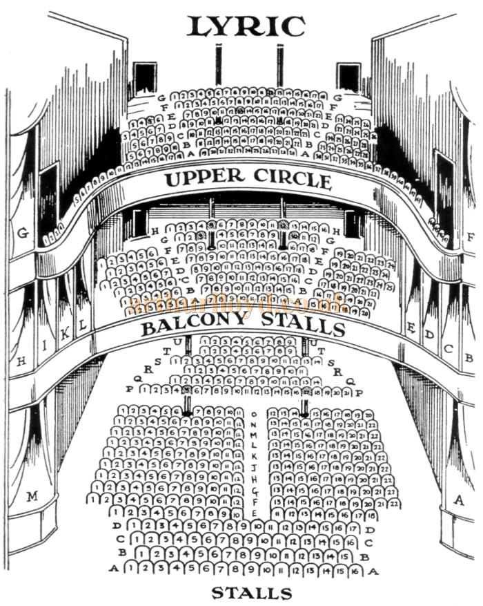 A Seating Plan for the Lyric Theatre, date unknown, possibly mid 1920s