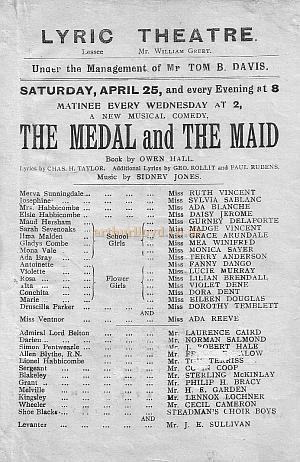 Programme for 'The Medal and The Maid,' a musical comedy with Ada Reeve and Ruth Vincent produced at the Lyric Theatre in April 1903.