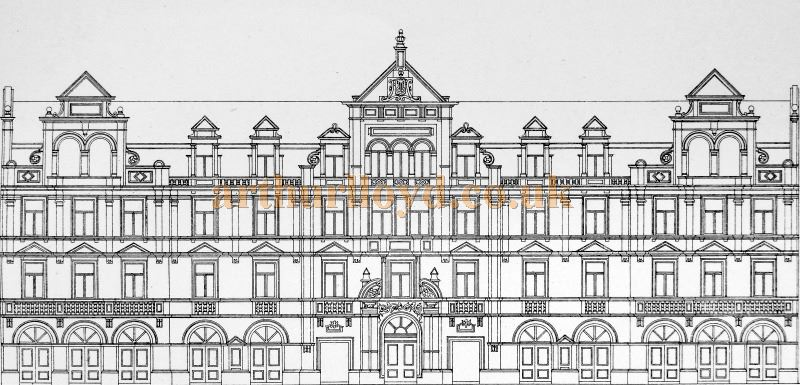 A Drawing of the Front Elevation of the Lyric Theatre, Shaftesbury Avenue - From 'Modern Opera Houses and Theatres' by Edwin O Sachs, Published 1896-1898, and held at the Library of the Technical University (TU) in Delft - Kindly sent in by John Otto.