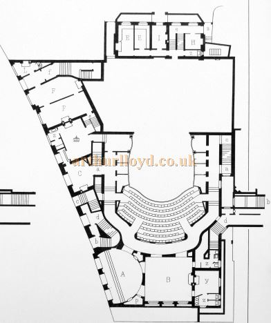 A Ground Plan for the Lyric Theatre, Shaftesbury Avenue - From 'Modern Opera Houses and Theatres' by Edwin O Sachs, Published 1896-1898, and held at the Library of the Technical University (TU) in Delft - Kindly sent in by John Otto.