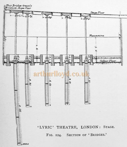 A Section Plan of the Bridges installed in the Lyric Theatre's Stage after the Theatre had opened - From 'Modern Opera Houses and Theatres' by Edwin O Sachs, Published 1896-1898, and held at the Library of the Technical University (TU) in Delft - Kindly sent in by John Otto.