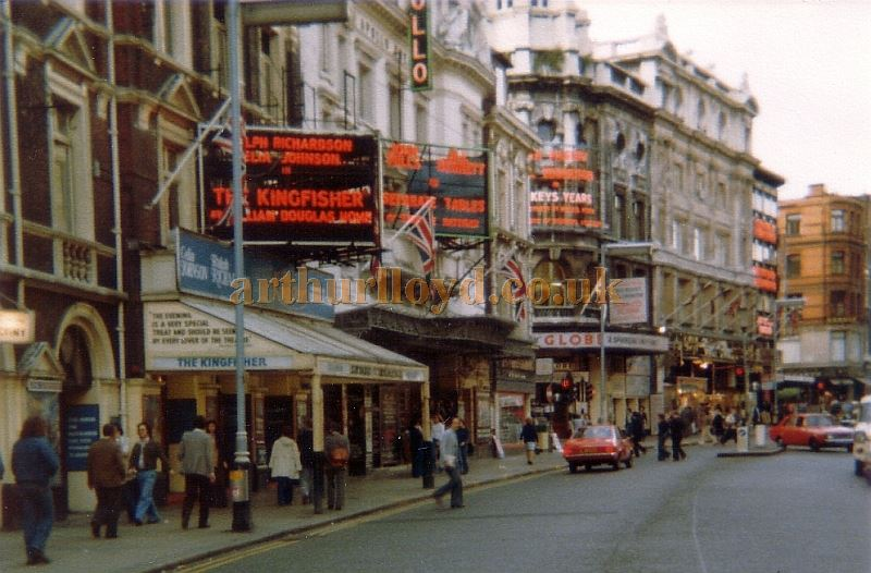 Shaftesbury Avenue in June 1977 showing the Lyric, Apollo, Globe, and Queen's Theatres - Photo M.L. 1977.