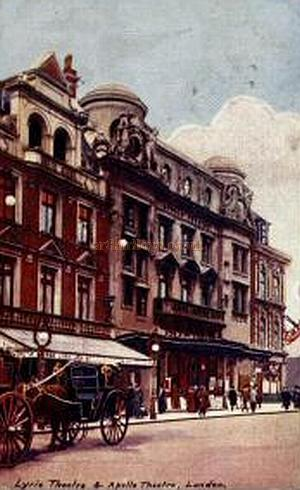 Early postcard showing the Lyric and Apollo Theatres side by side in Shaftesbury Avenue.