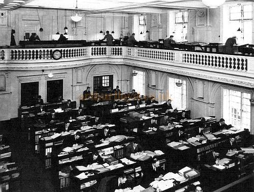 Marconi Wireless Telegraph Co. Ltd. Photograph of the Accountants Department of Marconi House in 1923 occupying the space of the former Gaiety Restaurant Ballroom on the upper floors. A new floor was created at gallery level. - Courtesy John A. Strubbe F.R.I.B.A. - Click here for more internal photographs of Marconi House from this series.