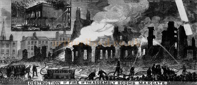 Destruction by Fire of the Assembly Rooms, Margate - From The Illustrated Police News 11th November 1882