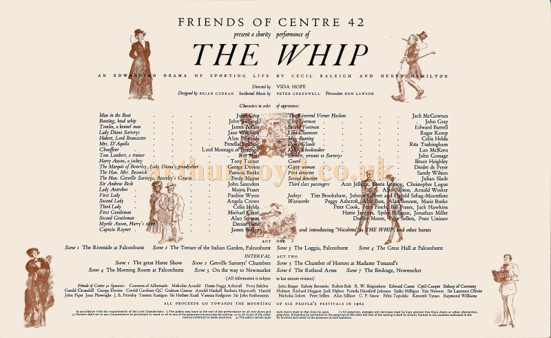 Cast Details for a production of 'The Whip' at the Metropolitan Theatre in May 1962 - Kindly donated by Edward Beckerleg.