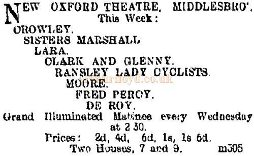 A notice in the Northern Echo of the 27th of December 1900 advertises forthcoming attractions at the Oxford Theatre, Middlesbrough.