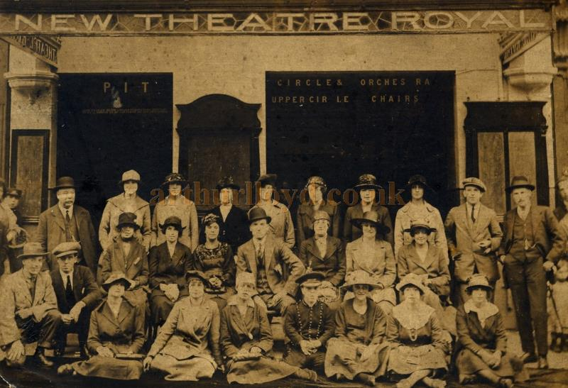 The cast of an unknown production pose in front of the Theatre Royal, Middlesbrough - Courtesy Maurice Friedman, British Music hall Society.