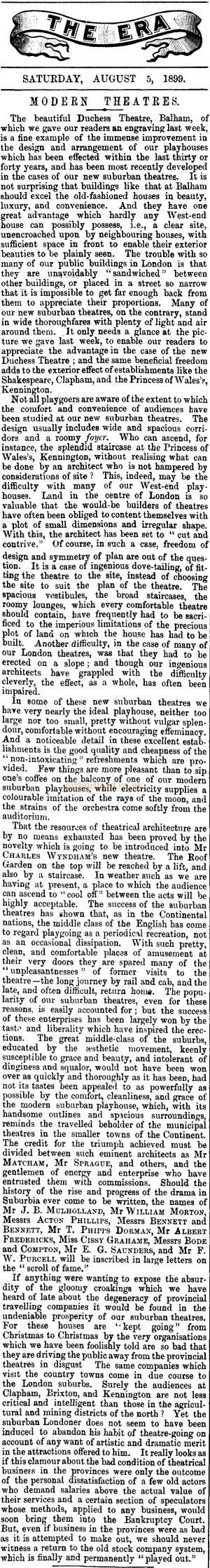 An article on Theatre Design - From the ERA, 5th of August 1899