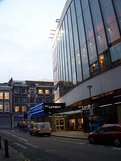 The Parker Street elevation of The New London Theatre during the run of 'Blue Man Group' in October 2006 - Photo M.L.