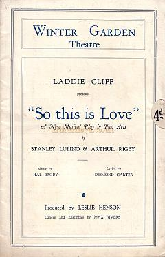 Programme for 'So this is Love' at The Winter Garden Theatre in 1929
