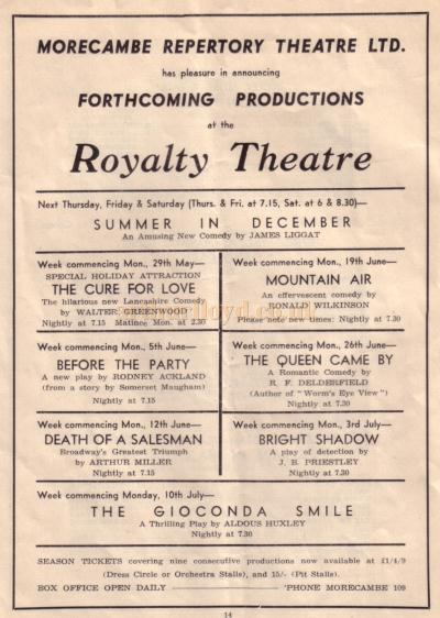 A page from a programme for the Morecambe and Heysham Drama 'One Act Play Festival' detailing the forthcoming productions in December 1950 at the Royalty Theatre, Morecambe - Kindly donated by David Lowndes.