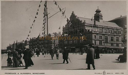 Morecambe Alhambra Theatre and sea front Promenade - From a postcard 1910