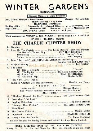 Programme for 'The Charlie Chester Show' at the Morecambe Winter Gardens in 1957 - Courtesy Susan Clarke.