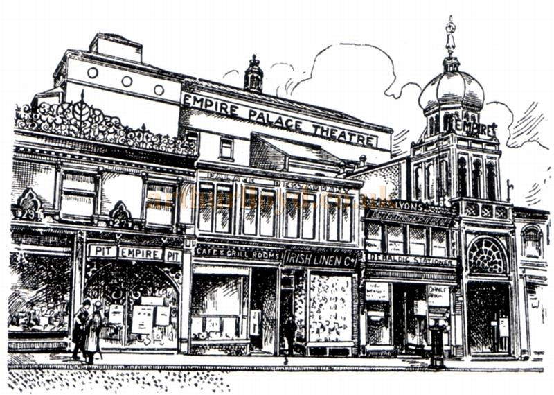 A sketch of the Edinburgh Empire Palace Theatre - From the Moss Empires Jubilee Brochure 1949