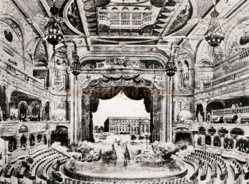 A view of the Auditorium, Stage, and Lake at the London Hippodrome on the opening day, January 15th, 1900
