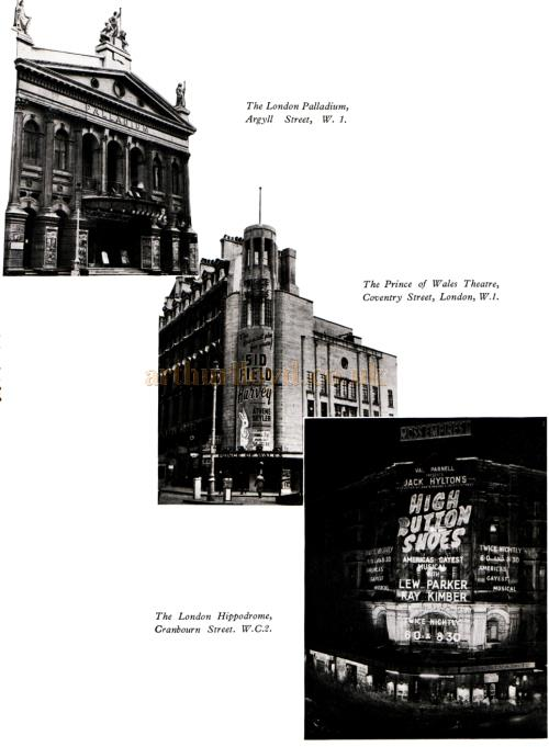 The London Palladium, the Prince of Wales Theatre, and the London Hippodrome.