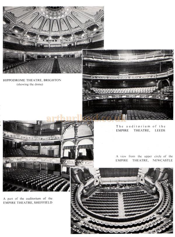 The Brighton Hippodrome, the auditorium of the Leeds Empire, a view from the stage of the upper circle of the Newcastle Empire, and the auditorium of the Sheffield Empire.