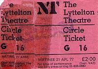 Ticket stub for Tom Stoppard's excellent play 'Jumpers' with Michael Hordern in the lead role, at the National Theatre's Lyttleton Theatre on Monday the 21st of April 1977.