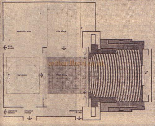 A plan of the Lower Theatre (proscenium stage).