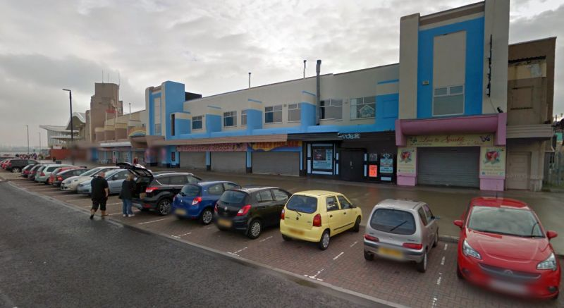 A Google StreetView Image of Adventureland, New Brighton, which was built on the site of the former Palace Theatre in 2003 - Click to Interact.