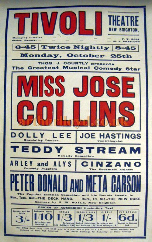 A Twice Nightly variety Poster for the Tivoli Theatre, New Brighton - Courtesy Stephen Wischhusen.