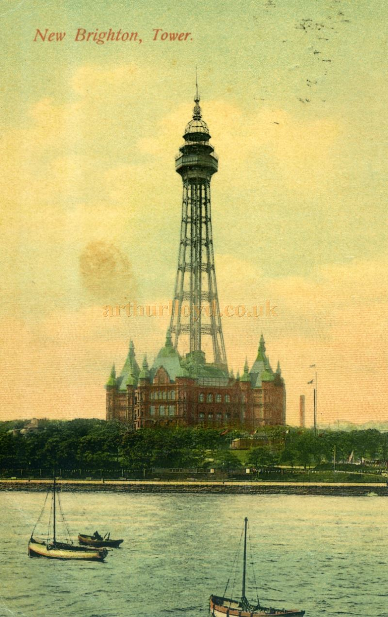 A Postcard showing the New Brighton Tower sent on the 13th August, 1909 - Courtesy Maurice Poole