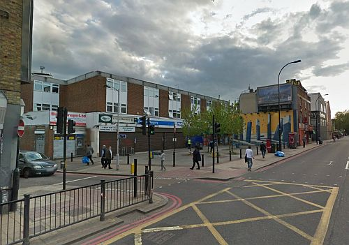 A Google StreetView Image of the site of the Broadway Theatre, New Cross today - Click to Interact.