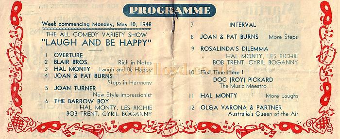 Programme Detail for 'The All Comedy Variety Show, Laugh and be Happy' at the New Cross Empire in May 1948.