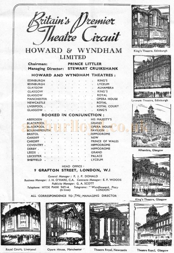 Britain's Premier Theatre Circuit listing - Howard & Wyndham Ltd, 1954, including Her Majesty's, Aberdeen, as shown on the rear cover of a programme - Courtesy Graeme Smith.