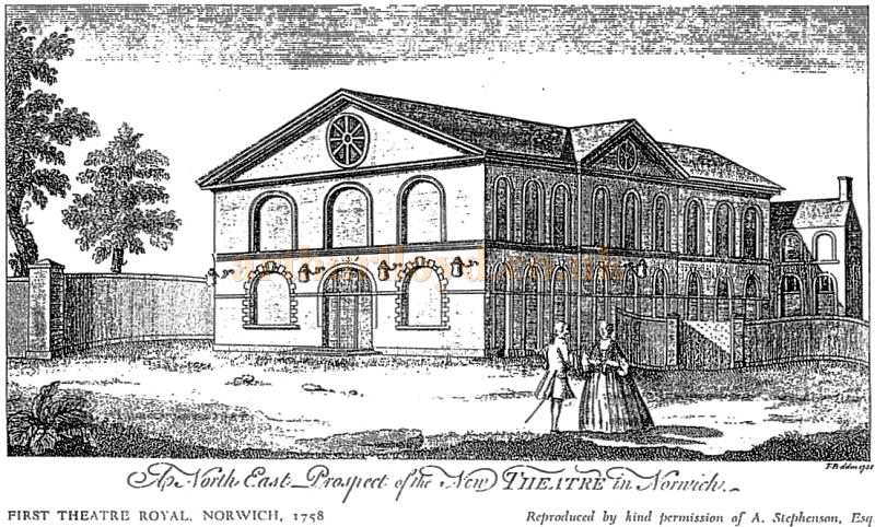 A sketch of the north east prospect of the 1758 first Theatre Royal, Norwich - Courtesy Maria Andrew, Archivist at the Theatre Royal, Norwich