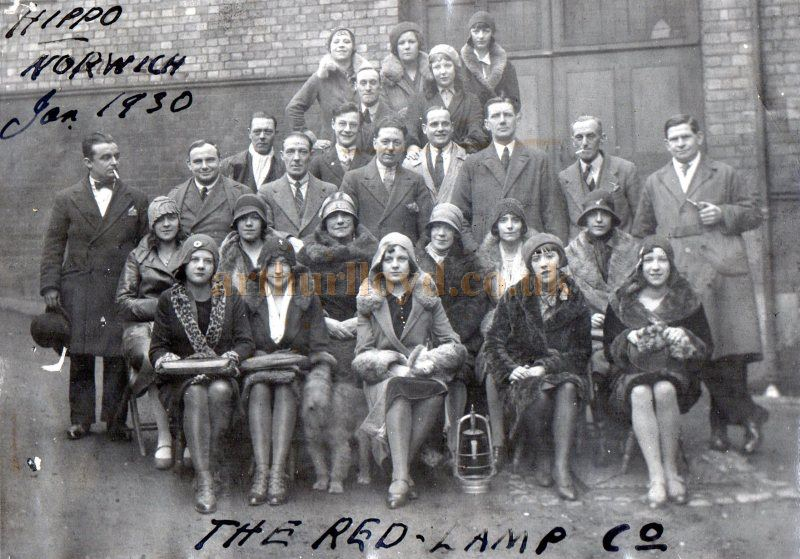 The Cast of 'The Red Lamp' pose for a photograph outside the Norwich Hippodrome in January 1930 - Courtesy Peter Lawson .