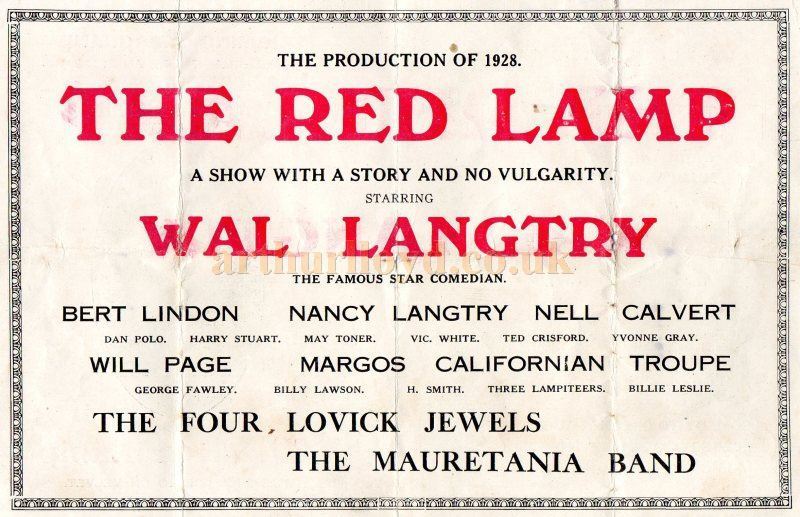 A page from a programme for 'The Red Lamp' in 1928 at the Grand Theatre, Birmingham - Courtesy Peter Lawson