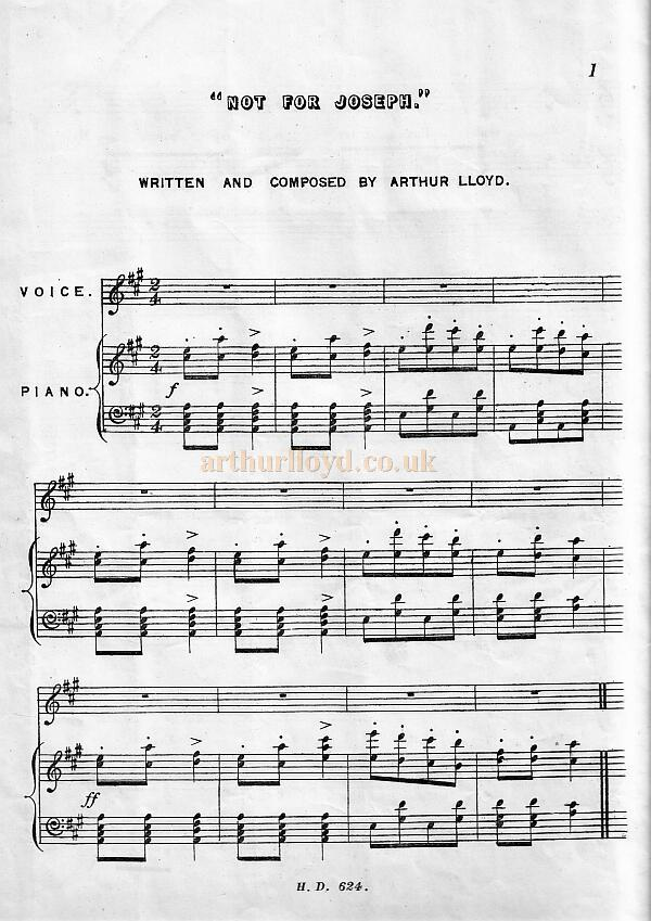 Arthur Lloyd's song 'Not For Joseph'