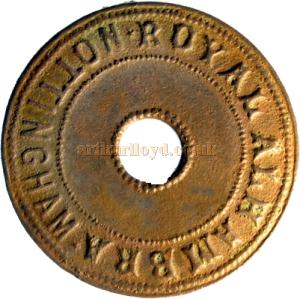 An early entrance token for the Royal Alhambra music hall, Nottingham - Courtesy Paul Withers.