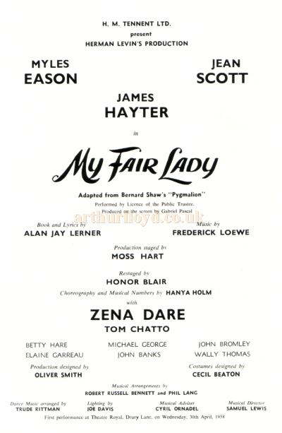 Detail from the Centenary Programme for 'My Fair Lady' at the Theatre Royal, Nottingham in 1965.
