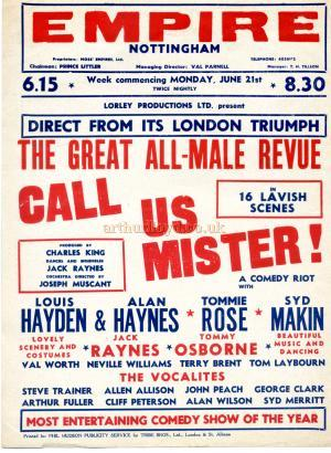A Bill for 'Call Us Mister!' at the Nottingham Empire in the 1950s - Courtesy Maurice Poole.