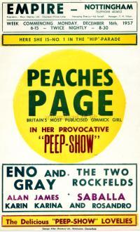 A Bill for 'Peep Show' at the Nottingham Empire in 1957 - Courtesy Maurice Poole.