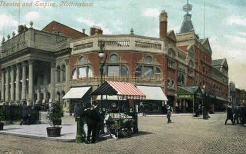 A postcard showing the Empire Theatre, Nottingham, and the Theatre Royal to the left of the picture