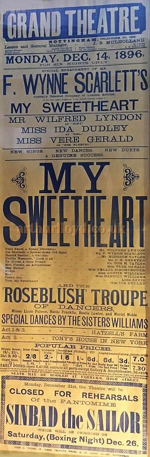 A Poster for 'My Sweetheart' at the Grand Theatre, Nottingham for December the 14th 1896 - Courtesy David Hampton.