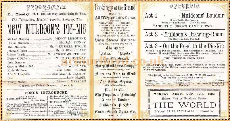 Cast Details from a programme for 'New Muldoon's Pic-Nic' at the Grand Theatre, Nottingham on the 3rd of October 1892