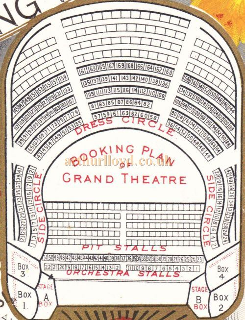 A Seating Plan for the Grand Theatre, Nottingham from a programme for 'New Muldoon's Pic-Nic' on the 3rd of October 1892.