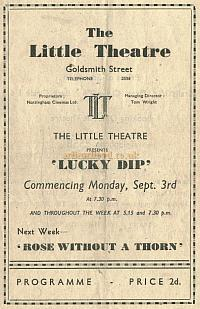 Programme for 'Lucky Dip' at the Little Theatre, Nottingham in 1945 - Courtesy Alan Chudley