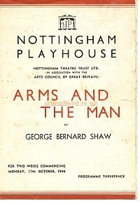 Programme for 'Arms and the Man' at the Nottingham Playhouse - Courtesy Alan Chudley