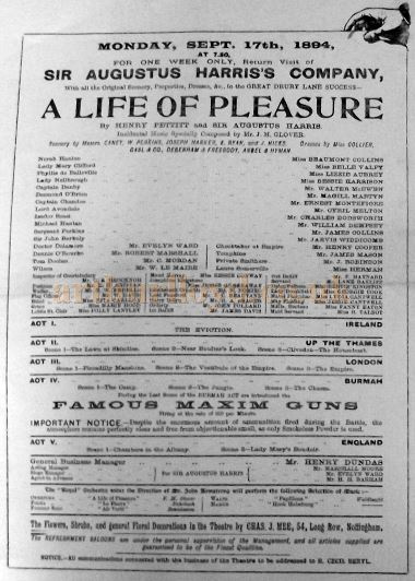 Cast details from a programme for  'A Life of Pleasure' at the Theatre Royal, Nottingham for the week of Monday the 17th of September 1894 - Courtesy Roy Cross.